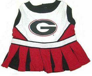 DoggieNation-College - Georgia Bulldogs Cheerleader Dog Dress - Small