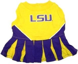 DoggieNation-College - LSU Tigers Cheerleader Dog Dress - Xtra Small