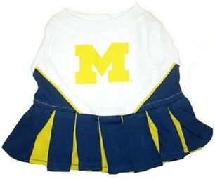 DoggieNation-College - Michigan Wolverines Cheerleader Dog Dress - Small
