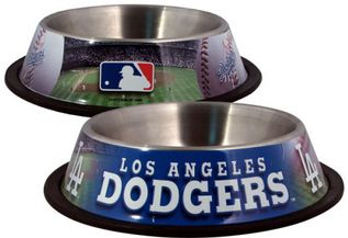 DoggieNation-MLB - Los Angeles Dodgers Dog Bowl - Stainless - One Size