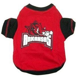DoggieNation-College - Arkansas Razorbacks Dog Tee Shirt - Large