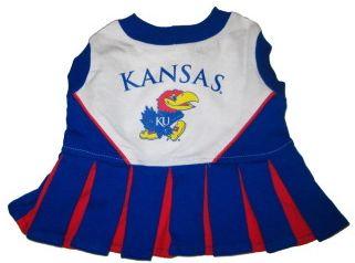 DoggieNation-College - Kansas Jayhawks Cheerleader Dog Dress - XtraSmall