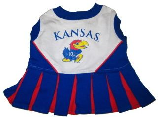 DoggieNation-College - Kansas Jayhawks Cheerleader Dog Dress - Small