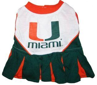 DoggieNation-College - Miami Hurricanes Cheerleader Dog Dress - XtraSmall