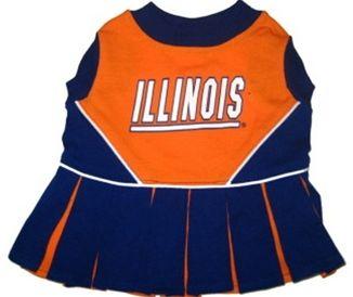 DoggieNation-College - Illinois Fighting Illini Cheerleader Dog Dress - XtraSmall