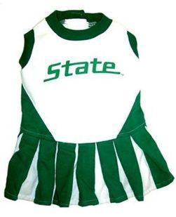 DoggieNation-College - Michigan State Cheerleader Dog Dress - XtraSmall