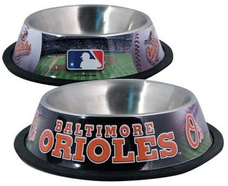 DoggieNation-MLB - Baltimore Orioles Dog Bowl - Stainless - One- Size