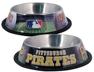 DoggieNation-MLB - Pittsburgh Pirates Dog Bowl - Stainless - One- Size