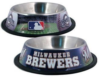 DoggieNation-MLB - Milwaukee Brewers Dog Bowl - Stainless - One- Size
