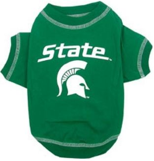 DoggieNation-College - Michigan State Dog Tee Shirt - Large