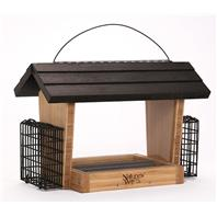 Natures Way Bird Products - Bamboo Hopper Feeder With Suet Cages - Wood/Black - 6 Quart