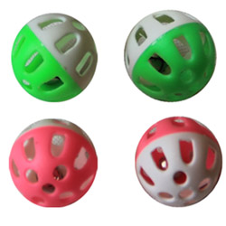 Iconic Pet - Two-Tone Plastic Ball with Bell - Assorted - 1.5 Inch - 4 Pack
