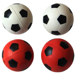 Iconic Pet - Bouncing Sponge Football - Red/White - 1.6 Inch - 4 Pack