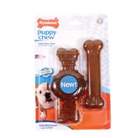 Nylabone - Puppy Chew Ring And Flat Bone Puupy Chew - Chicken - Wolf/2 Pack