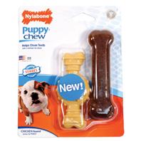 Nylabone - Puppy Chew Textured Ring And Flat Bone Puppy Chew - Chicken - Petite/2 Pack