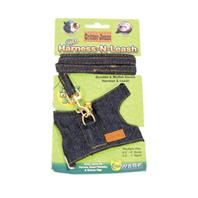 Ware Mfg - Critter Jeans Small Animal Harness-N-Leash - Blue - Medium