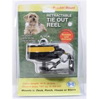 Howard Pet Products  - Reflective Retractable Tie Out Reel With Bracket - Black/Yellow - Up To 30 Lb