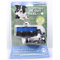 Howard Pet Products  - Reflective Retractable Tie Out Reel With Bracket - Black/Blue - 25-80 Lb