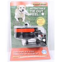 Howard Pet Products  - Reflective Retractable Tie Out Reel With Bracket - Black/Red - 80-120 Lb