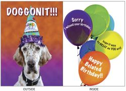 DogTales4You - Bonnie Belated Birthday Card #76 - 5x7 Inch