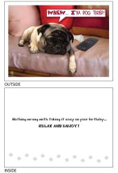 DogTales4You - Pooped Pug Card-BIRTHDAY-#34- 5x7 Inch