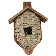 Birdquest/Songbird - Mounted Grass Roosting Pocket With Roof - Tan - 10.4 Inches