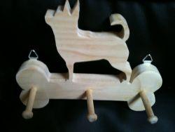 Fine Crafts - Wooden Handmade Chiuahua Leash Holder