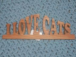 Fine Crafts - I Love Cats Wood Sign