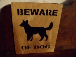 Fine Crafts - Beware Of Dog Wall Hanging 2