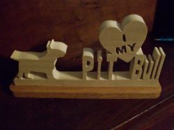 Fine Crafts - I Love My Pit Bull Wood Display