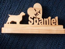 Fine Crafts - I Love My Spaniel Wooden Display