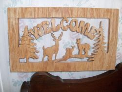 Fine Crafts - Wooden Deer Welcome Sign Wall Hanging