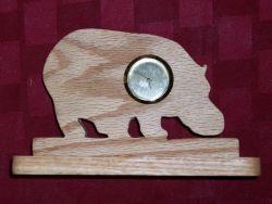 Fine Crafts - Wooden Hippo Mini Desk Clock