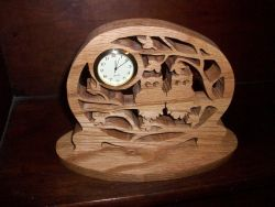 Fine Crafts - Owls Wooden Mini Desk Clock
