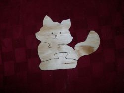 Fine Crafts - Wooden Cat Shaped Jigsaw Puzzle