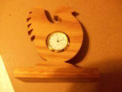 Fine Crafts - Wooden Rooster Shaped Miniature Desk Clock