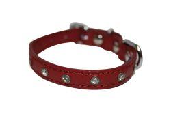 "Angel Pet Supplies - Athens Leather Rhinestone Bling Dog Collar - Valentine Red - 10"" X 1/2"""