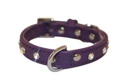 "Angel Pet Supplies - Athens Leather Rhinestone Bling Dog Collar - Orchid Purple - 12"" X 5/8"""