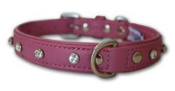 "Angel Pet Supplies - Athens Leather Rhinestone Bling Dog Collar - Bubblegum Pink - 18"" X 3/4"""