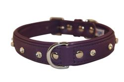"""Angel Pet Supplies - Athens Leather Rhinestone Bling Dog Collar - Orchid Purple - 22"""" X 1"""""""
