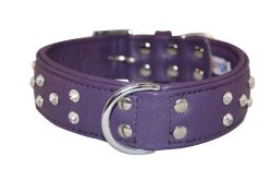 """Angel Pet Supplies - Athens Leather Rhinestone Bling Dog Collar - Orchid Purple - 22"""" X 1.5"""""""