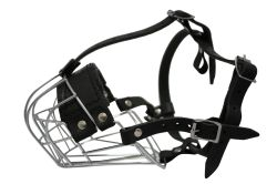 "Angel Pet Supplies - B3 Miami Wire Cage & Leather Muzzle - Black - 14.5"" circumference, 3.75"" length"