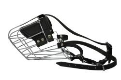 "Angel Pet Supplies - 12 Miami Wire Cage & Leather Muzzle - Black - 18.5"" circumference, 5.5"" length"
