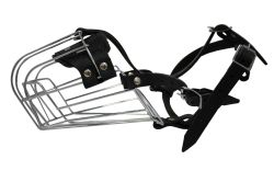 """Angel Pet Supplies - 8 Miami Wire Cage & Leather Muzzle - Black - 14"""" circumference, 4.5"""" length"""