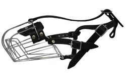 """Angel Pet Supplies - 7 Miami Wire Cage & Leather Muzzle - Black - 13"""" circumference, 4.25"""" length"""