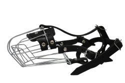 """Angel Pet Supplies - 5 Miami Wire Cage & Leather Muzzle - Black - 11"""" circumference, 4.25"""" length"""