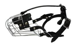 "Angel Pet Supplies - 2 Miami Wire Cage & Leather Muzzle - Black - 8.5"" circumference, 2.75"" length"