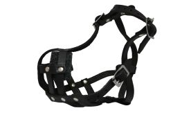 "Angel Pet Supplies - BM1 Boston Leather Basket Muzzle - Black - 9"" circumference, 2"" length"