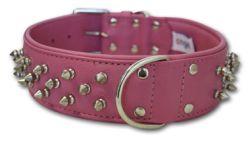 "Angel Pet Supplies - Amsterdam Leather Spiked Multi-Line Dog Collar - Bubblegum Pink - 28"" X 2"""