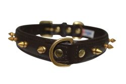 "Angel Pet Supplies - Rotterdam Leather Spiked Single-Line Dog Collar - Chocolate Brown - 16"" X 3/4"""